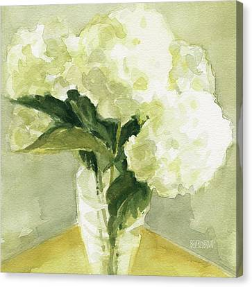 Relaxed Canvas Print - White Hydrangeas Morning Light by Beverly Brown