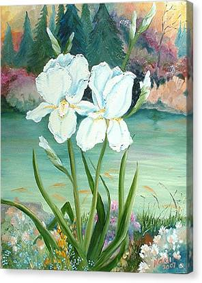Canvas Print featuring the painting White Iris Love by Renate Nadi Wesley