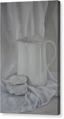 White Jug And Pebbles Canvas Print