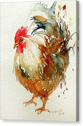 Cockerel Canvas Print - White Knight Rooster by Arti Chauhan