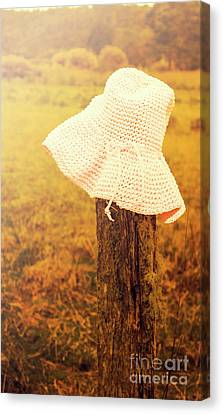 Copyspace Canvas Print - White Knitted Hat On Farm Fence by Jorgo Photography - Wall Art Gallery