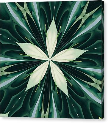 White Leaves In A Green Forest Kaleidoscope Canvas Print