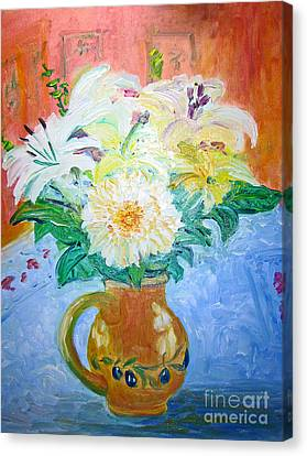 White Lilies In Olive Jug Canvas Print by Barbara Anna Knauf