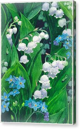 White Lilies Of The Valley Canvas Print by Sergey Lukashin