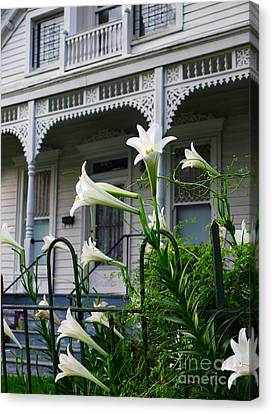 White Lilies With White Detail Canvas Print by Jeanne  Woods