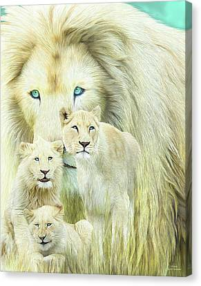 Canvas Print featuring the mixed media White Lion Family - Forever by Carol Cavalaris
