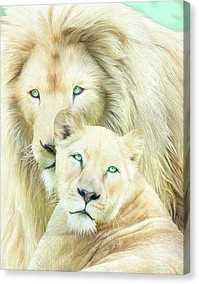 Canvas Print featuring the mixed media White Lion Family - Mates by Carol Cavalaris
