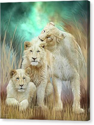 Canvas Print featuring the mixed media White Lion Family - Mothering by Carol Cavalaris