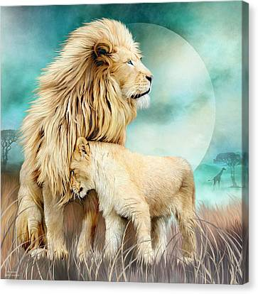 Canvas Print featuring the mixed media White Lion Family - Protection by Carol Cavalaris