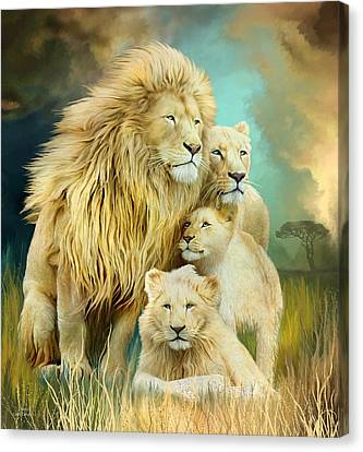 Canvas Print featuring the mixed media White Lion Family - Unity by Carol Cavalaris