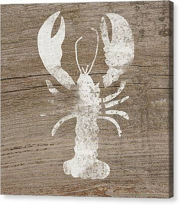 Natural Canvas Print - White Lobster On Wood- Art By Linda Woods by Linda Woods