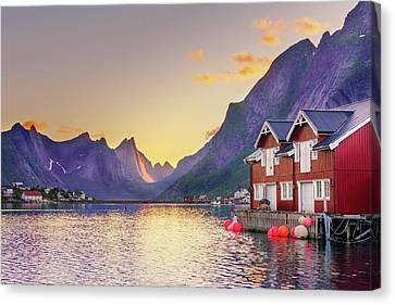 Canvas Print featuring the photograph White Night In Reine by Dmytro Korol