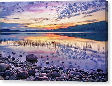 Canvas Print featuring the photograph White Night Sunset On A Swedish Lake by Dmytro Korol