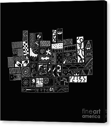 White On Black Abstract Art Canvas Print by Edward Fielding
