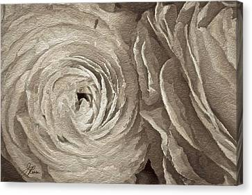 Canvas Print featuring the painting White On White Rose by Joan Reese