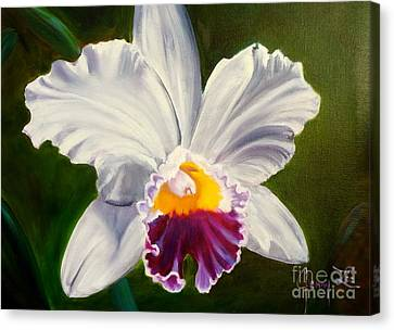 Canvas Print featuring the painting White Orchid by Jenny Lee