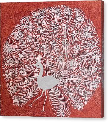 White Peacock Dance- Original Warli Painting Canvas Print