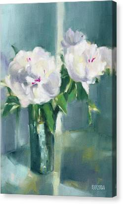 Large White Flower Canvas Print - White Peonies by Beverly Brown
