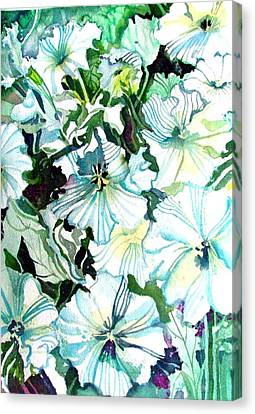 White Petunias Canvas Print by Mindy Newman