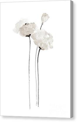 White Poppy Minimalist Wall Decoration, Floral Painting  Canvas Print