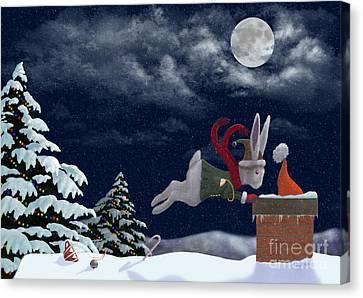 White Rabbit Christmas Canvas Print by Audra Lemke