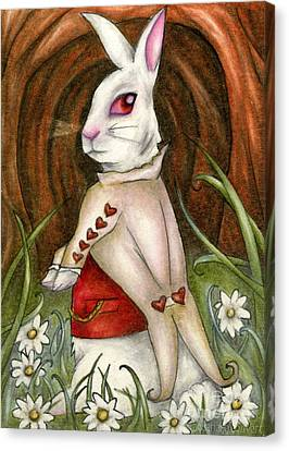 White Rabbit On Way To Wonderland Canvas Print