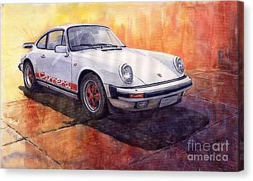 White Red Legend Porsche 911 Carrera Canvas Print