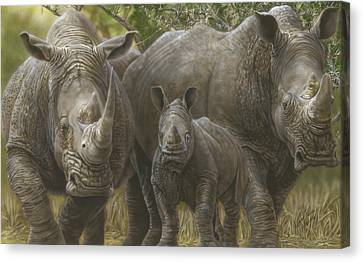 White Rhino Family - The Face That Only A Mother Could Love Canvas Print