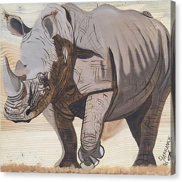 White Rhino On Rustic Wood Canvas Print