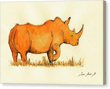 White Rhino Orange Canvas Print by Juan  Bosco