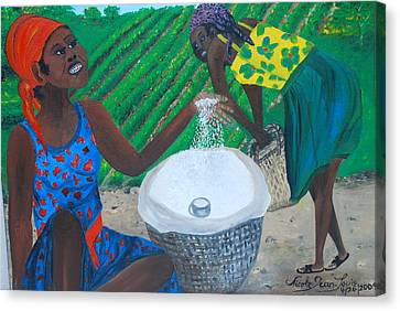 Canvas Print featuring the painting White Rice Merchant by Nicole Jean-Louis