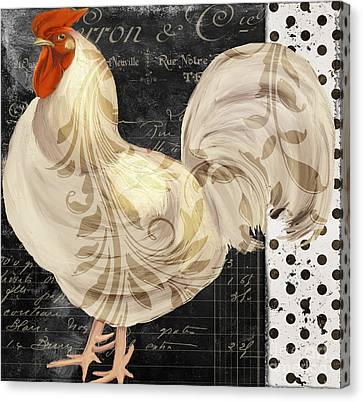 Rooster Canvas Print - White Rooster Cafe II by Mindy Sommers