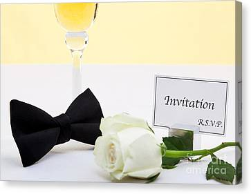 White Rose Bow Tie And Invitation. Canvas Print by Richard Thomas