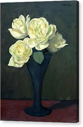 Four White Roses In Trumpet Vase Canvas Print