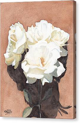 Watercolour Canvas Print - White Roses by Ken Powers