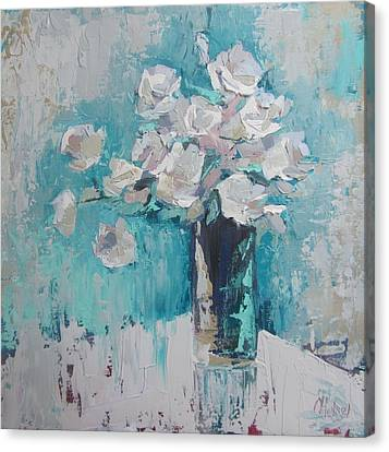 White Roses Palette Knife Acrylic Painting Canvas Print