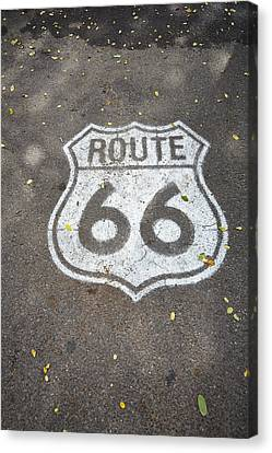 White Route 66 Sign Painted On Street Canvas Print by Gillham Studios