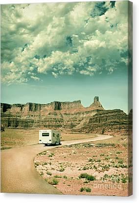 White Rv In Utah Canvas Print by Jill Battaglia