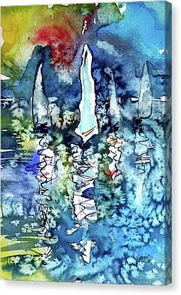 White Sailboats At Sunset Canvas Print by Kovacs Anna Brigitta