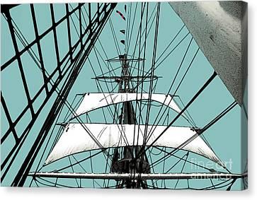 White Sails At Dawn Canvas Print by Linda  Parker