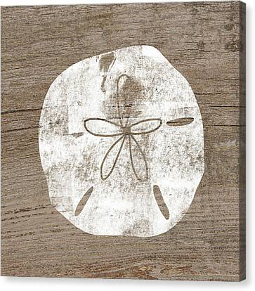 White Sand Dollar- Art By Linda Woods Canvas Print by Linda Woods