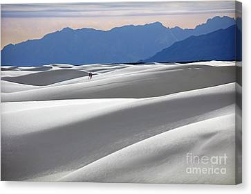 White Sands Hikers Canvas Print by Martin Konopacki