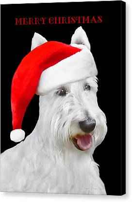 White Scottish Terrier Dog Christmas Card Canvas Print by Jennie Marie Schell