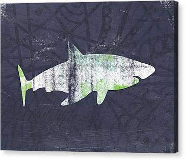 White Shark- Art By Linda Woods Canvas Print by Linda Woods