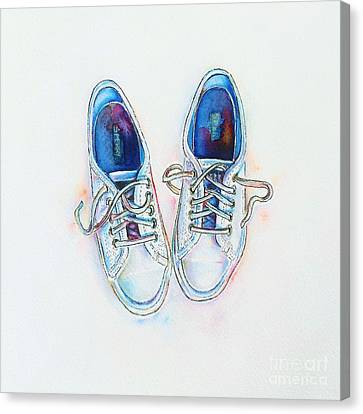 White Sneakers Canvas Print by Willow Heath