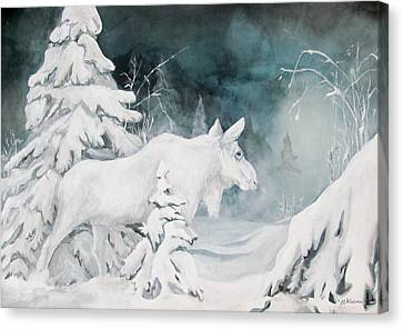 White Spirit Moose Canvas Print by Nonie Wideman