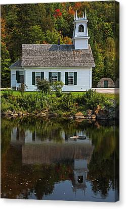 Canvas Print featuring the photograph White Steepled Church In Stark Village  by Juergen Roth