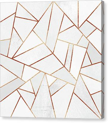White Stone And Copper Lines Canvas Print by Elisabeth Fredriksson