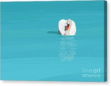White Swan Blue Lake Canvas Print by Jan Brons