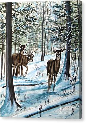 Canvas Print featuring the painting White Tail Deer In Winter by Patricia L Davidson